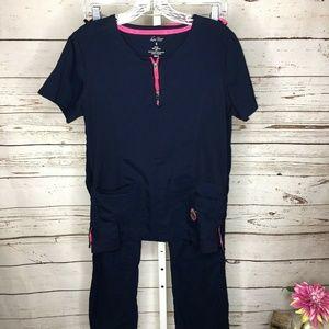 Koi Lite Womens Scrub Set Size Small Tall Navy Blu